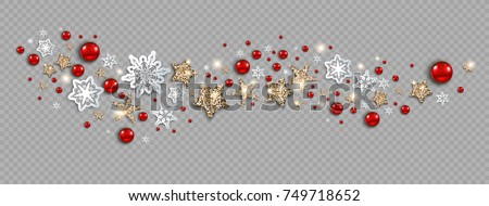 Luxury decoration with stars, snowflakes and balls winter holiday invitation. Template Christmas wave for banners, advertising, leaflet, cards, greeting, invitation and so on.