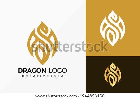 luxury dragon logo vector