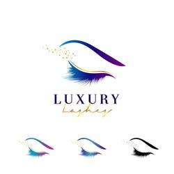 Luxury Elegant Eye Lashes Logo Set