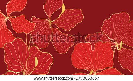 Luxury elegant gold orchids floral line arts pattern and black background. Topical flower wallpaper design, Fabric, surface design. Vector illustration.