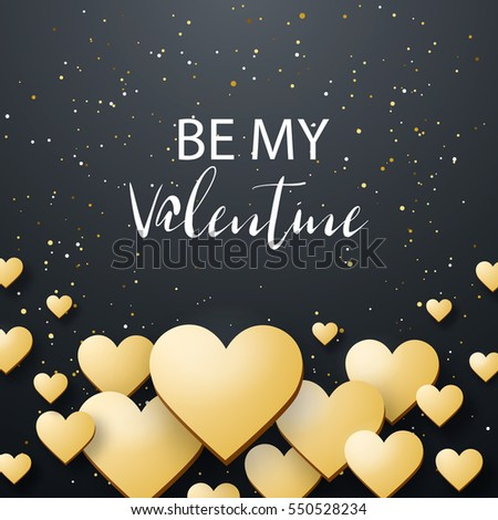 Luxury Elegant Happy valentine day festive sparkle layout template design. Glitter gold heart on black background with frame. Lettering Valentines day card vector Illustration. Glitter Love confetti. #550528234