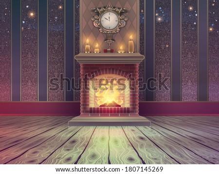 luxury empty christmas room
