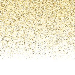 Luxury festive golden seamless border on white background. Gold glitter with star, round and diamond particles. Template for greetind card, certificate, gift voucher and covers with text place.