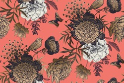 Luxury floral seamless pattern. Black, white, gold on coral-colored background. Blooming flowers peonies, bird and butterflies. Vintage. Vector Illustration in style of old Chinese engraving.