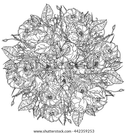 luxury flowers bouquet in shape of mandala for adult coloring book ...