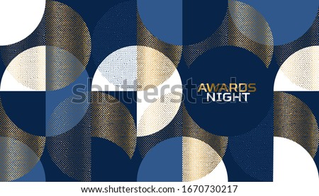 Luxury geometrical abstract pattern for card, header, invitation, poster, social media, post publication. Gold, blue, white decorative geometry vector with circles.