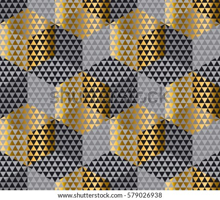 Luxury gold abstract design pattern. gold and black geometry hexagon seamless fabric sample. geometric pattern swatch vector illustration for wrapping paper, background