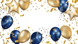 Luxury Gold and Blue foil balloons with confetti in white background vector.  3d realistic vector illustration for anniversary, birthday, sale and promotion,  party design element.