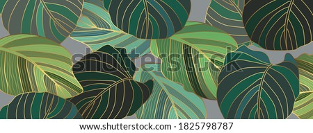 luxury gold and green leaf