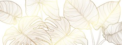 Luxury gold and nature green background vector. Floral pattern, Golden split-leaf Philodendron plant with monstera plant line arts, Vector illustration.