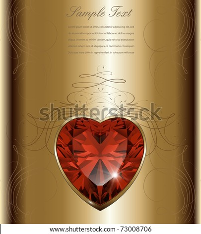 Luxury gold background with ruby heart, vector.