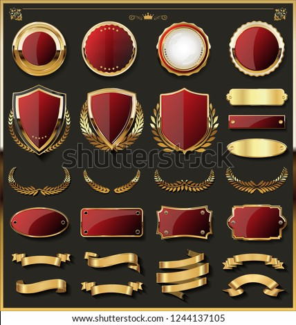 Luxury gold badges and labels design elements collection  #1244137105