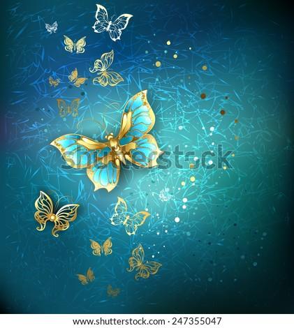 luxury gold butterflies on a