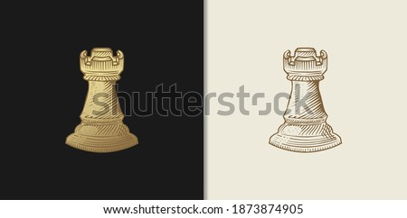 luxury gold chess rook  hand