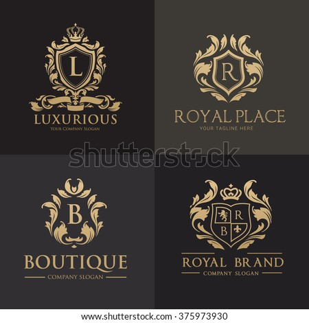 Luxury Gold Crest logo collection Boutique, Hotel and Fashion Brand Identity