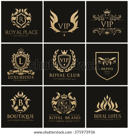 Luxury Gold Crest logo collection Royal ,Boutique, Hotel and Fashion Brand Identity