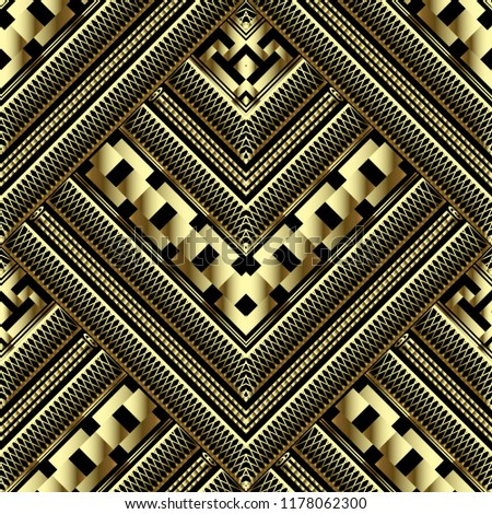 Luxury gold 3d geometric vector seamless pattern. Ornate grid lattice background. Tiled abstract greek key meander ornament. Modern geometry textured design with stripes, grid, chains, shapes, zigzag.