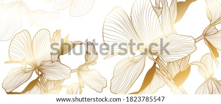 luxury gold floral line art wallpaper vector. Exotic botanical background, Orchid flower golden line design for textiles, wall art, fabric, wedding invitation, cover design Vector illustration. Сток-фото ©