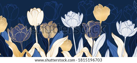luxury gold floral line art wallpaper vector. Exotic botanical background, Tulip flower vintage boho style for textiles, wall art, fabric, wedding invitation, cover design Vector illustration. Stock photo ©