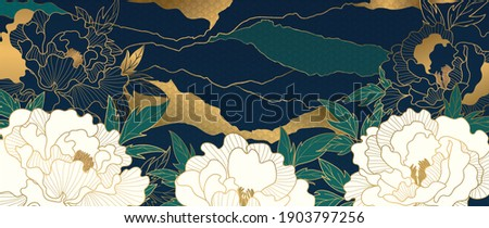 Luxury gold floral oriental style background vector. Flower wallpaper design with peony flower, Japanese, Chinese oriental line art with golden texture. Vector illustration.