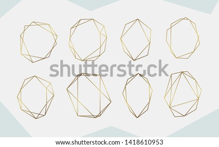 Luxury gold geometric frame collection.  Geometrical polyhedron design for wedding card, invitations, logo, book cover, art decoration, and poster - Vector