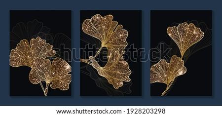 Luxury gold Ginkgo Biloba Leaf background.  Black and golden wall art design with dark blue and green color, shiny golden line arts light texture. Modern art mural wallpaper.