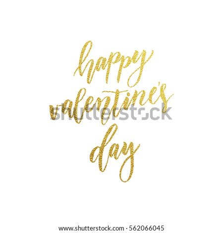 Luxury gold Happy Valentines Day text lettering for premium white greeting card