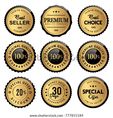 luxury gold labels seal and quality product
