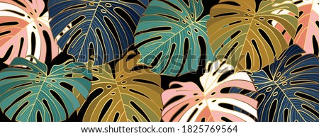Luxury gold leaves wallpaper vector. Golden split-leaf Philodendron plant with monstera plant line art green emerald, blue  and pink color on dark background. Vector illustration.