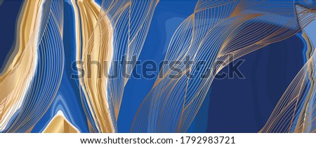 Luxury Gold marble design withe nature line arts pattern background vector.