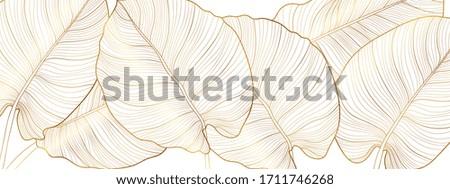 Luxury gold nature background vector. Floral pattern, Golden split-leaf Philodendron plant with monstera plant line arts, Vector illustration.