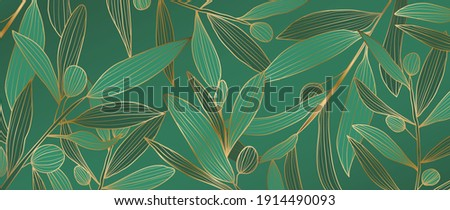 luxury gold Olive leaf background vector. Green and golden filter line arts design pattern for wallpaper, prints, canvas prints and home decoration.