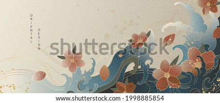 Luxury gold oriental style background vector. Chinese and Japanese oriental line art with golden texture. Wallpaper design with Cherry blossoms flower and Ocean and wave background.