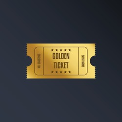 Luxury gold ticket and coupon template vintage vector isolated.