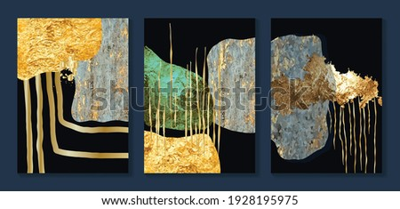 Luxury gold wallpaper.  Black and golden background. Grunge wall art design with golden line art and abstract shape. Modern art mural wallpaper. Vector illustration.