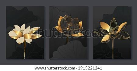 Luxury gold wallpaper.  Black and golden background. lotus wall art design with dark blue and green color, shiny golden light texture. Modern art mural wallpaper. Vector illustration.