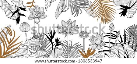 Luxury golden art deco wallpaper. lotus  background vector. Floral pattern with golden tropical flowers, split-leaf Philodendron plant ,monstera plant, Jungle plants line art on white background.