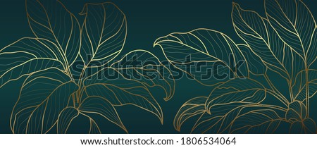 Luxury golden art deco wallpaper. Nature background vector. Floral pattern with golden split-leaf Philodendron plant with monstera plant line art on green emerald color background.