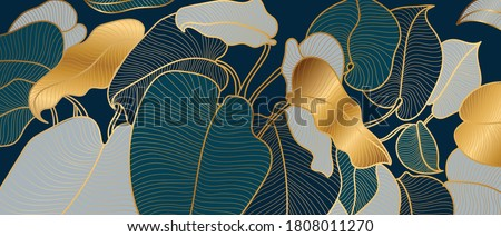 Luxury golden art deco wallpaper. Nature background vector. Floral pattern with golden split-leaf Philodendron plant with monstera plant line art on green emerald color background