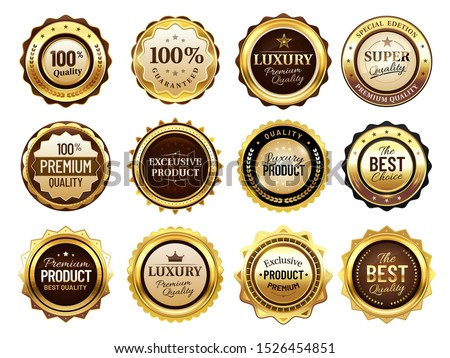 Luxury golden badges. Premium quality stamp, gold labels and best offer badge. Award emblem, seal quality certificate tag or elegant royal medal. Isolated vector illustration icons set