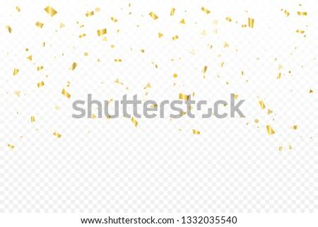 Luxury Golden Confetti On Transparent Background. Celebration & Party. Vector Illustration