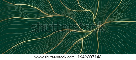 Luxury golden emerald wallpaper.  Abstract gold line arts texture with green emerald background design for cover, invitation background, packaging design, fabric, and print. Vector illustration.