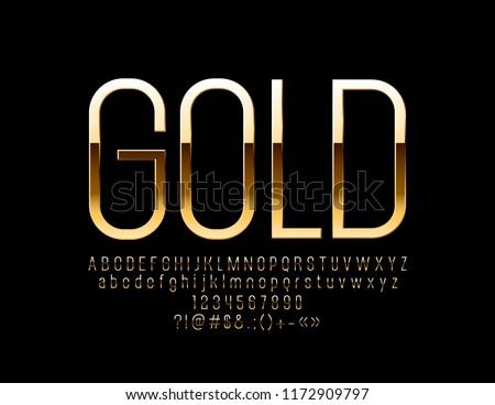 Luxury Golden Font. Elegant Alphabet Letters, Numbers and Symbols.