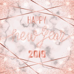 Luxury golden Happy New Year 2019 on pink marble background. Pink gold glitter congratulation frame with geometric lines. Square template with lettering for greetind card, gift prints and covers.