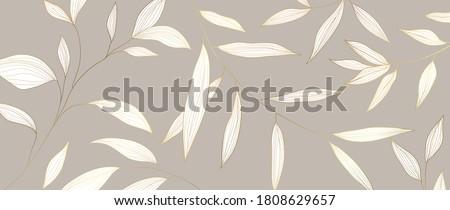 Luxury Golden leaf art deco wallpaper. Nature background vector. Floral pattern with tropical plant line art on trendy color background. Vector illustration.