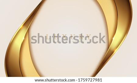Luxury golden line  background mustard shades in 3d abstract style, Illustration from vector about modern template deluxe design. Stock photo ©