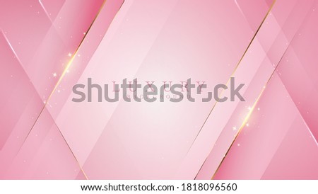 Luxury golden line background pink shades in 3d abstract style. Illustration from vector about modern template deluxe design.