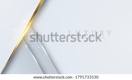 Luxury golden line background white and gray shades in 3d abstract style. Illustration from vector about modern template deluxe design. Stock photo ©