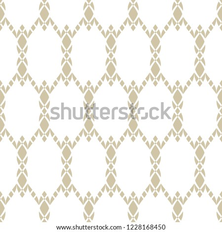 Luxury golden mesh seamless pattern. Elegant abstract geometric background. Gold and white vector texture with lace, weave, grid, lattice, grate, fence, net. Repeat design for decor, fabric, textile