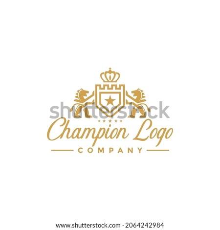 Luxury Golden Royal Lion King logo design